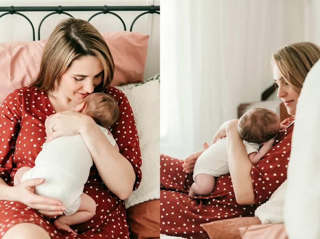 mummy and newborn baby by cairns newborn photographer Lizzy Hannaford Photography