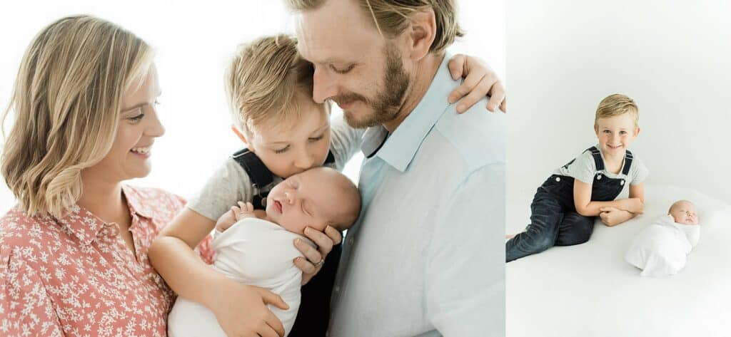 Family in studio with new baby for natural photos by cairns newborn photographer Lizzy Hannaford Photography