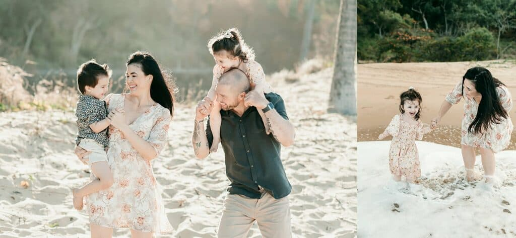 family sunset beach photoshoot by cairns family photographer Lizzy Hannaford Photography