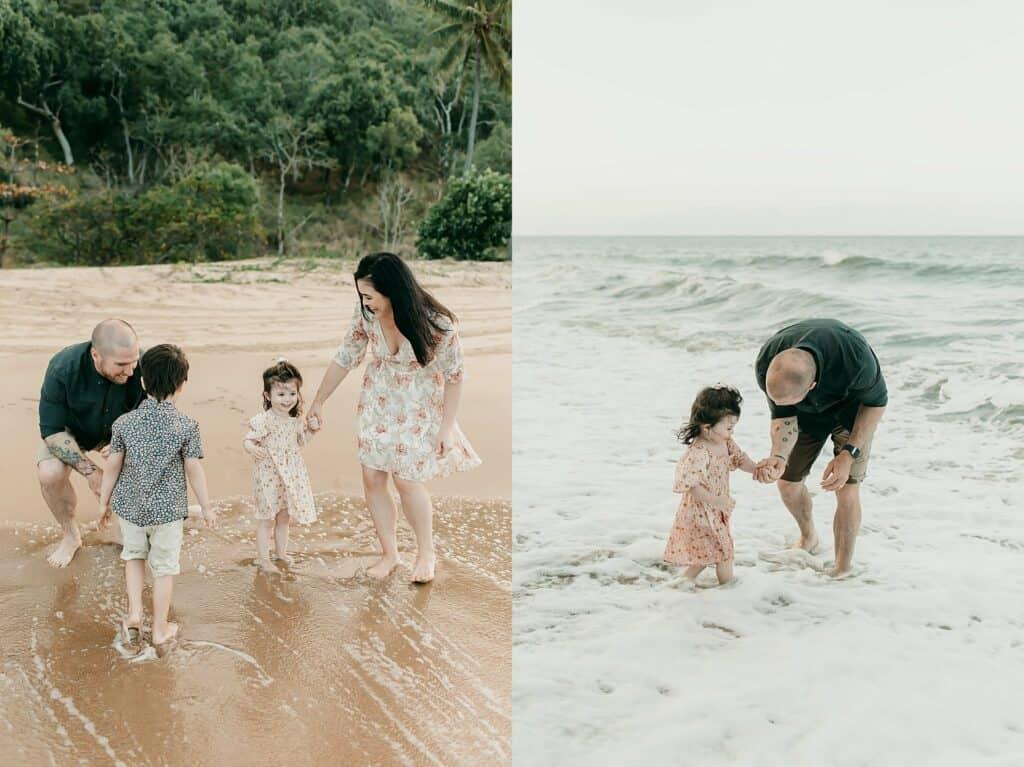 family beach photos cairns by cairns family photographer Lizzy Hannaford Photography